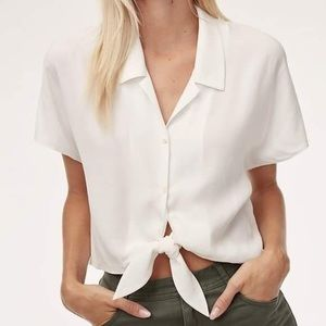 Aritzia Wilfred Free The Tie-Front Blouse
